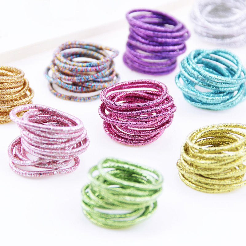 10PCS/Lot Kids Shiny Hair Accessories Hairbands Ponytail Holder Girls Scrunchies High Elastic Thumb Mini Rubber Band Hair Ropes