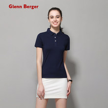 ad53e5d6 GLENN BERGER 2019 new Fashion Breathable Couple Short Sleeve Casual Solid  Color High Quality Cotton Polo Slim women Polo Shirt