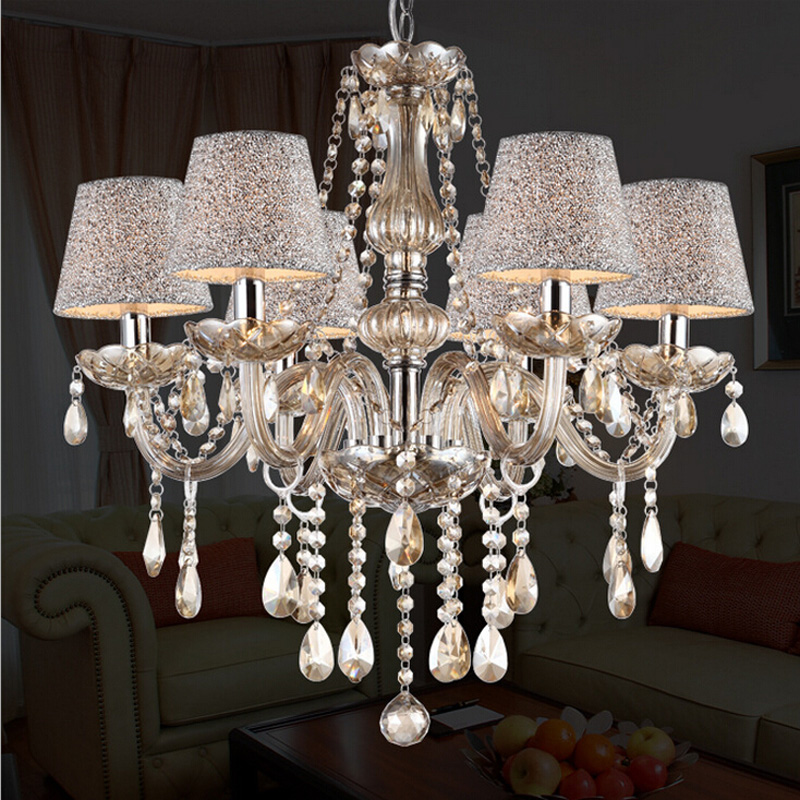 Ecolight Free shipping Led Crystal Chandelier 6 Lights K9 Coganic Crystal Metal Chrome Chandeliers Lamp  for Living Room