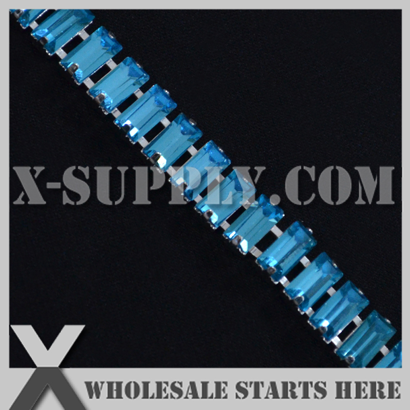 5x10mm Baguette(Rectangle ) Crystal Rhinestone Cup Chain for Garment,Shoe,Jewelry / Aquamarine Color
