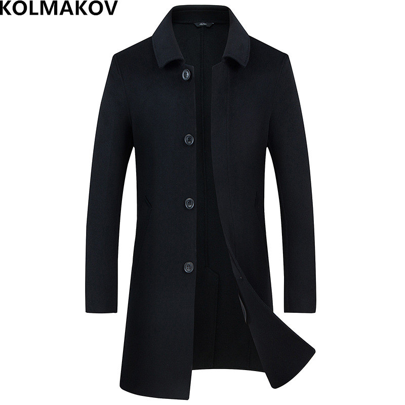 2018 New big mens winter coat wool thick coats jackets long double-faced Men's woolen coats cashmere outwear man plus size M-3XL(China)