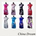 Historia Shanghai cheongsam vestido chino cheongsam de seda de imitación de pavo real Encanto de las mujeres Chinas mini vestido de época