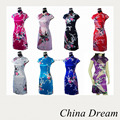 Shanghai Story cheongsam dress peacock chinese dress faux silk cheongsam Charming Chinese women's mini dress vintage dress