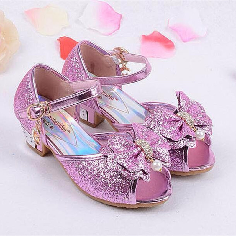 Princess Kids bowtie Sandals Children summer shoes Wedding Lace up Shoes High Heels Dress Shoes Party Sequin Shoes For Girls new children princess pearl beading sandals kids flower wedding shoes high heels dress shoes party shoes for girls pink guinea p