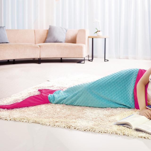 La cola de la sirena de la muchacha bolsas de dormir saco de dormir del niño manta suave del terciopelo de los niños de dibujos animados de cola de pescado de punto mantas siesta manta swaddle