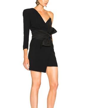 DONEGRIL Liebsten Kleid Für Frauen Off Schulter Unregelmäßigen Spitze Up Bogen Hohe Taille Mini Kleider 2019 Frühling Sexy Flut Kleidung - 2