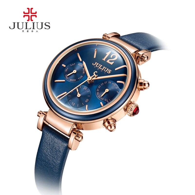 Юлий Марка Креативные часы Для женщин Мода Chronos кварцевые часы Ретро Винтаж Montre Femme Авто день дата женский часы ja-958
