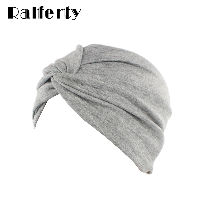 Ralferty Chemo Turban Hat Gray Twist Solid Color Beanies Vintage 1940s Hats For Women Head Covering Stretch Hair Accessory JD163