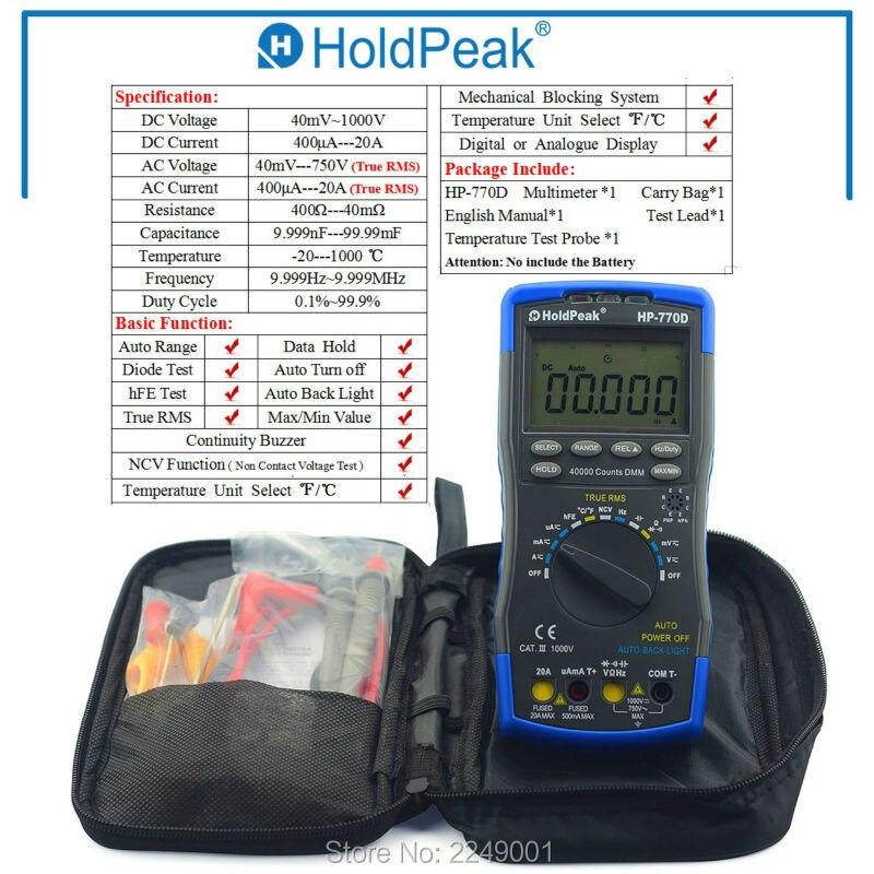 Multimetro HoldPeak HP-770D Auto Range Multimetro Digitale a Vero RMS/Frequenza/Temperatura di prova e Borsa per il trasporto