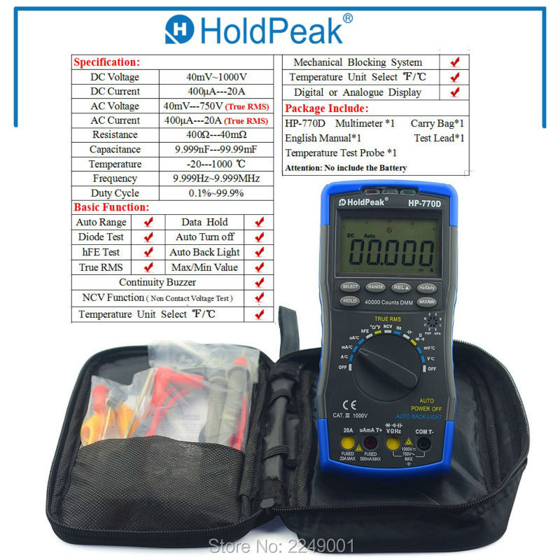 купить Multimetro HoldPeak HP-770D Auto Range Digital Multimeter True RMS/ Frequency/ Temperature test and Carry Bag по цене 3996.21 рублей
