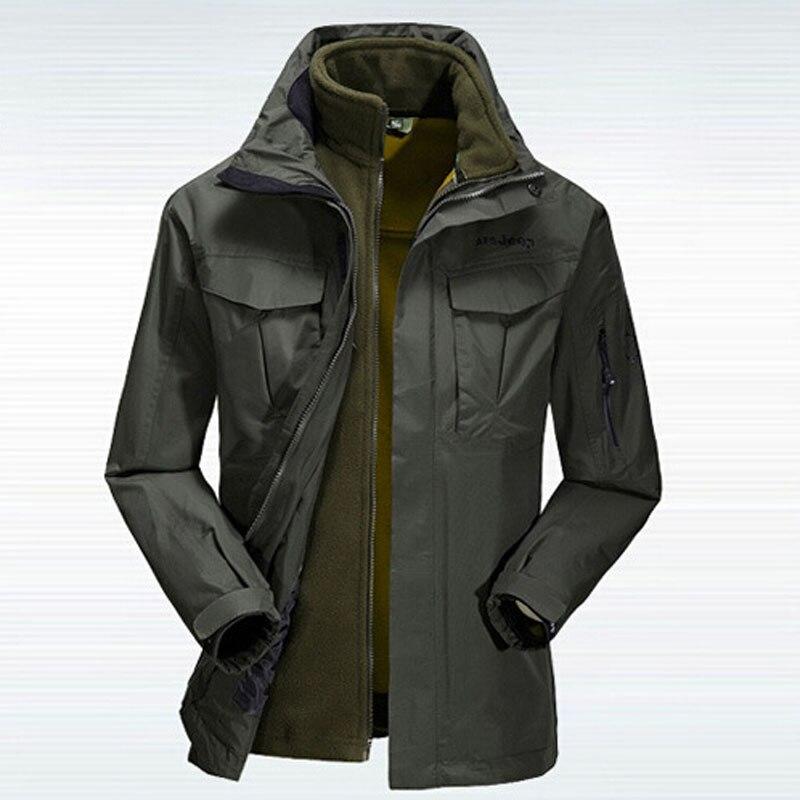 ФОТО Khaki Green Colors Male Nylon Windbreaker Hiking Veste Homme Man Mountaineering Jacket Warm Coat Sportswear Plus Size Two-piece