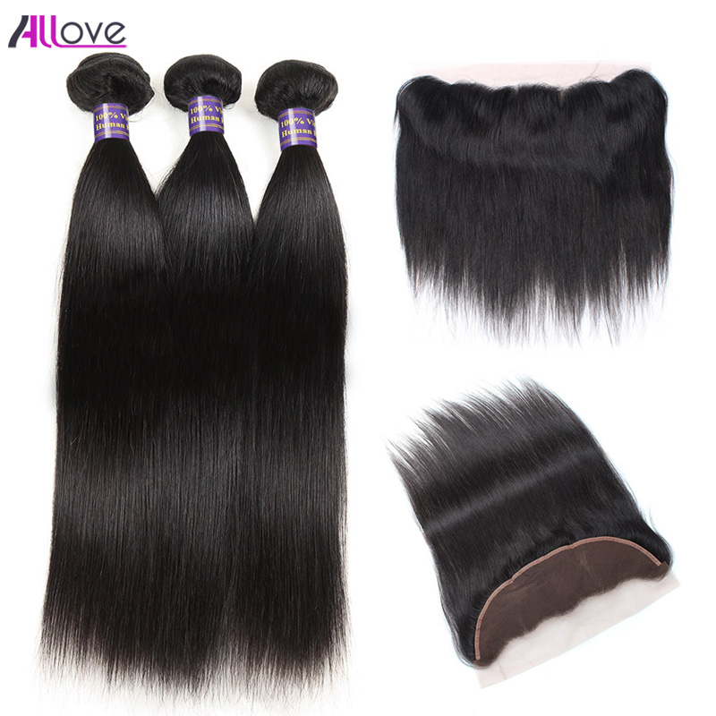 Allove Brazilian Straight Human Hair 3 Bundles With Closure Free Part Remy Hair Extensions Ear To Ear Lace Frontal Closure