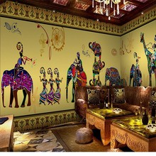 Free Shipping Colorful Southeast Asia Indian Dance Yoga Church Palace Hotel Restaurant Backdrop Wallpaper Mural