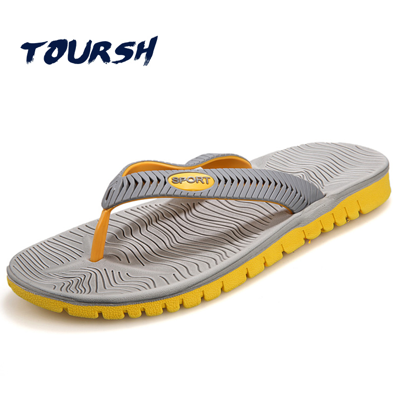 02a8c635c04d Buy Best TOURSH Beach Casual Slippers Mens Flip Flops Summer Sandals Men  Sandalias Playa Hombre Sandales Homme Black Size8.5 9.5 10 for Sale