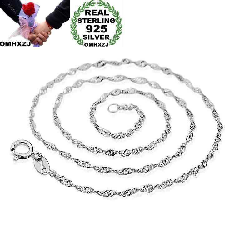 OMHXZJ Wholesale Personality Fashion Woman Girl Party Gift Silver White 1MM Wave Chain 925 Sterling Silver Chain Necklace NC182