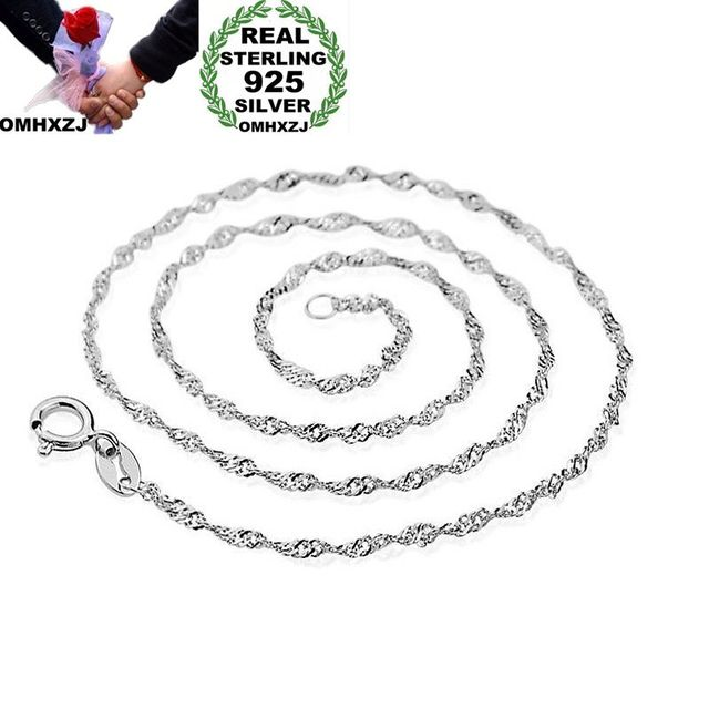 OMHXZJ al por mayor personalidad moda mujer chica fiesta regalo plata blanco 1mm onda Cadena de plata de ley 925 collar de cadena de plata NC182