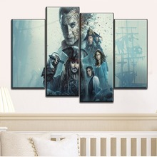 Wall Art Painting Decorative Framework 4 Panel Movies Pirates of the Caribbean Salazars Revenge Poster Canvas HD Printed