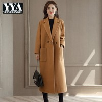 Woman Coats Winter 2019 Loose Fit Solid Elegant Warm Long Wool Jacket Fashion Clothes Brown Red Pink Coat Female Casaco Feminino
