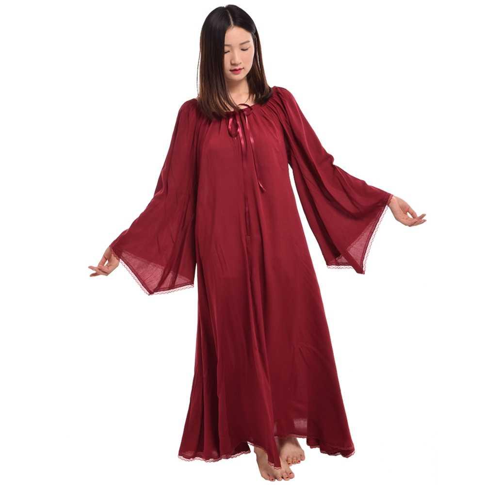 797cebbb0d98d Vintage Medieval Dress Women Black Red Gothic Trumpet Sleeve Lace Trim Long  Chemise Max Dresses Renaissance Gown