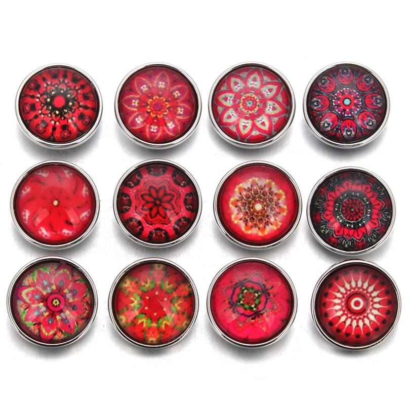 10 шт./лот новая стеклянная Кнопка случайная красная серия тема подходит для 18 мм DIY браслет ювелирные изделия ZB387