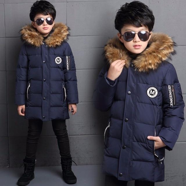От 6 до 12 лет Детская Подпушки куртка длинное Утепленное зимнее пальто для мальчиков утка Подпушки Зимняя одежда для детей Куртки и пиджаки для мальчиков верхняя одежда меховой воротник