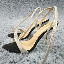 Women Stiletto Thin Iron High Heel Sandals Sexy Ankle Strap Open Toe Silver Glittering Party Bridals Wedding Lady Shoes 3845-i8