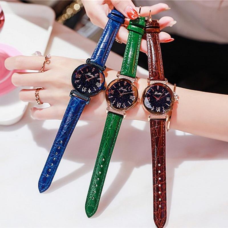 Новый стиль Звездное циферблат Для женщин часы Lady горный хрусталь Повседневное кварцевые часы женский роскошный кожаный ремешок наручные