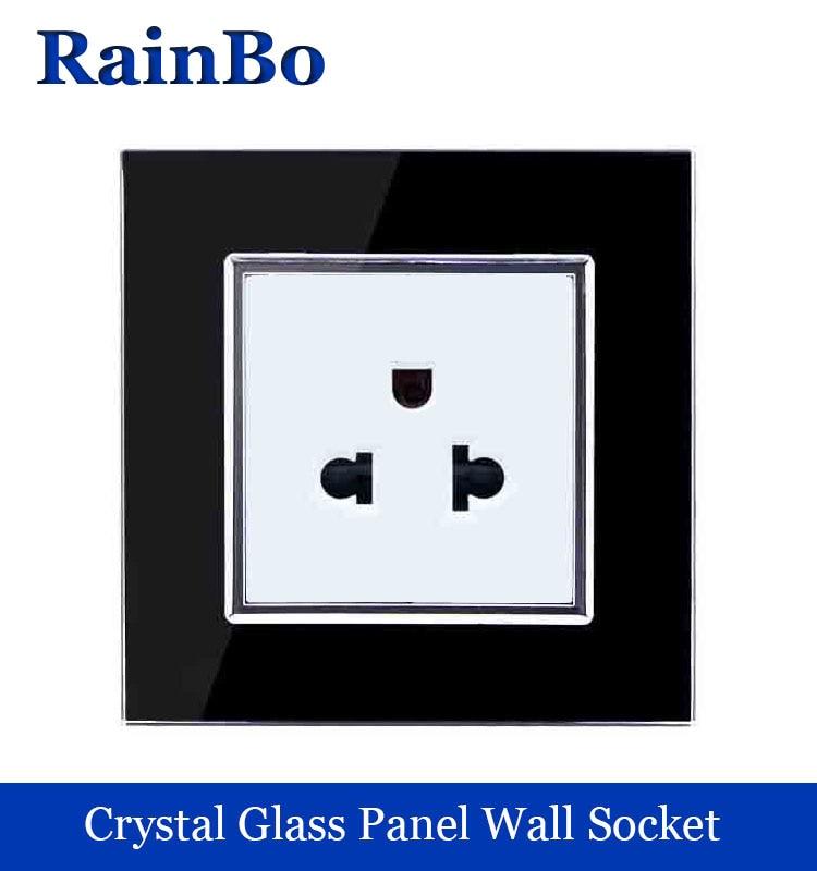 rainbo brandFree Shipping  US Standard Power Socket Black Crystal Glass Panel 110~250V 16A to eu Wall Power Outlet plug usa