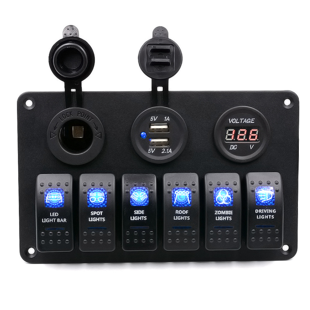 WUPP 6 Gang Waterproof LED Rocker Switch Panel for Car Boat Marine with Digital Voltmeter Cigarette Socket Double USB Charger