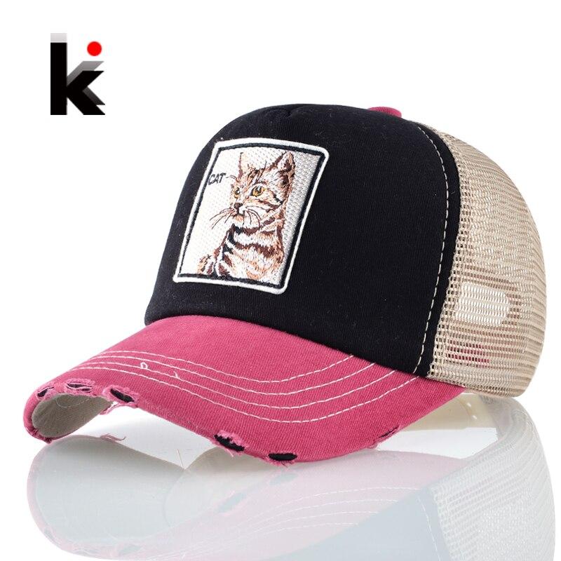 Supper Cool Unisex Hip Hop Hats Patch Cat Snapback Baseball Cap Women Men Breathable Mesh Trucker Gorras Hombre Drake Kpop Bones