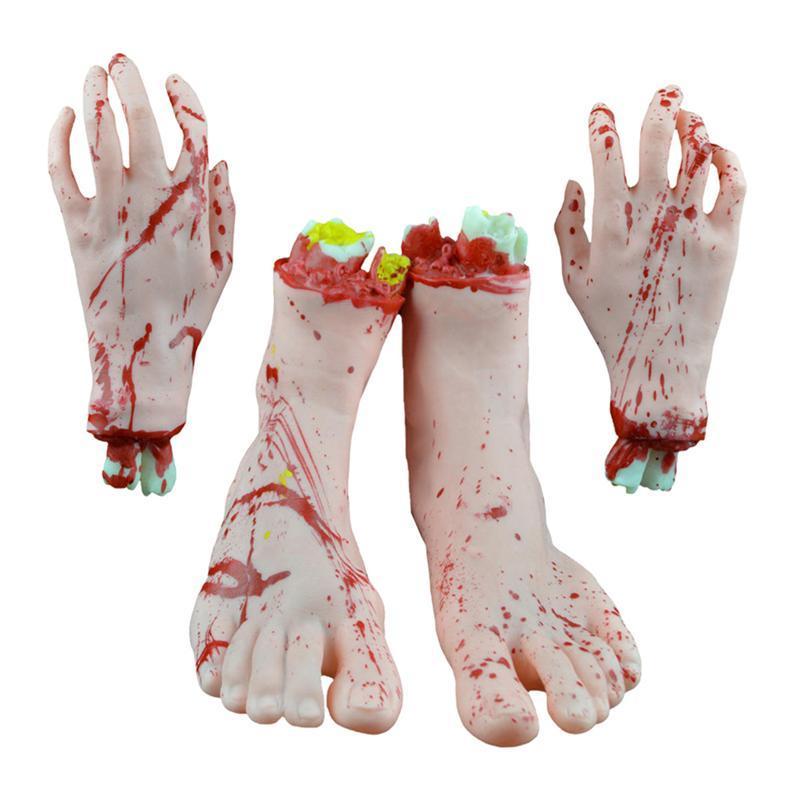 4pcs/set Scary Human Parts Prop Terror Prank Prop Body