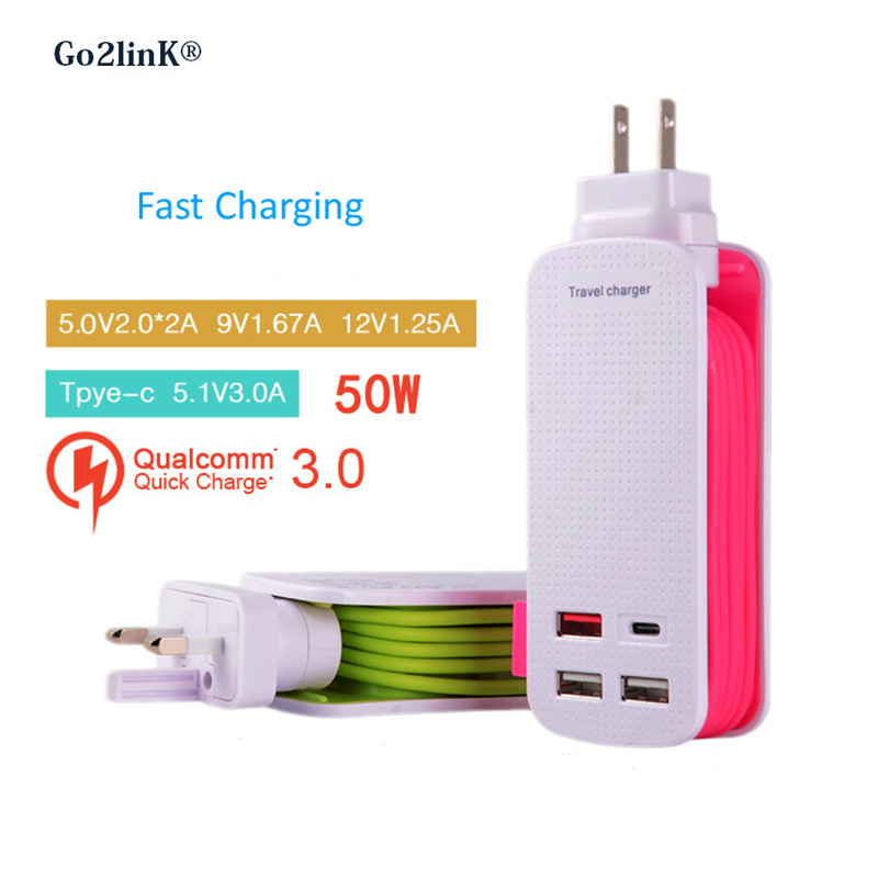 Quick Charge QC 3.0 USB Wall Charger 50W 4 Ports USB Hub Station Wall Fast Charger Power Adapter 1M Strip for Smart Phone Tablet
