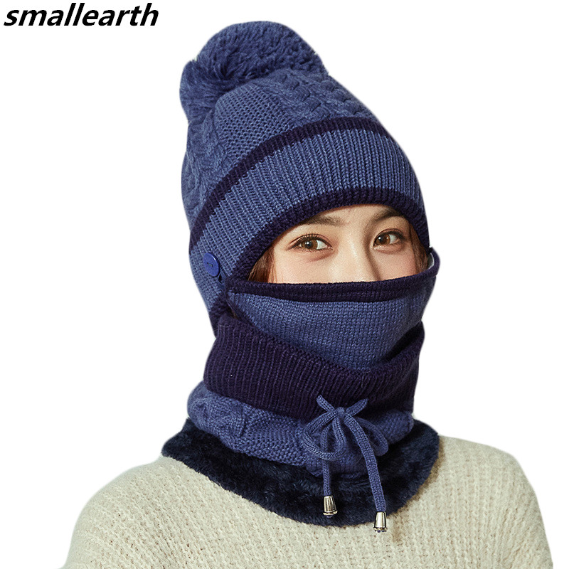 Warm 3 Pieces Sets Winter Knitted Wool Hats Scarf For Women Thick Cotton Winter Windproof Accessories Set Female Beanie Hats