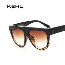 Kehu женщина с плоским верхом зеркало солнцезащитные очки cat eye солнцезащитные очки французский бренд óculos de sol