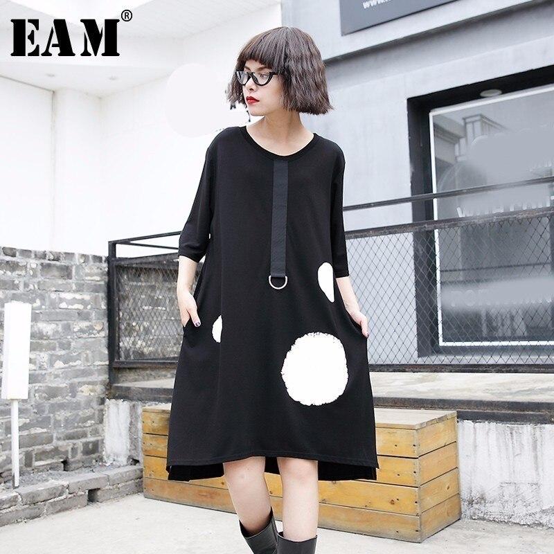 [EAM] 2018 New Summer Round Neck Short Sleeve Black Pocket Dot Printed Ribbon Metal Ring Loose Dress Women Fashion Tide JF184