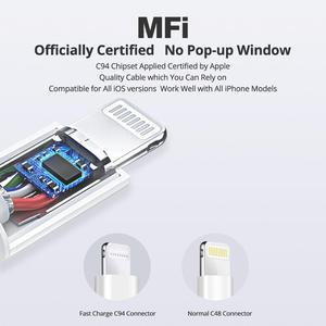 Image 3 - Кабель iSky MFi с разъемами типа C и Lightning для iPhone, сертифицированный кабель 11X8 7 6 5 XR XsMax Pro PD для быстрой зарядки, C94 MFi, синхронизация данных для Macbook