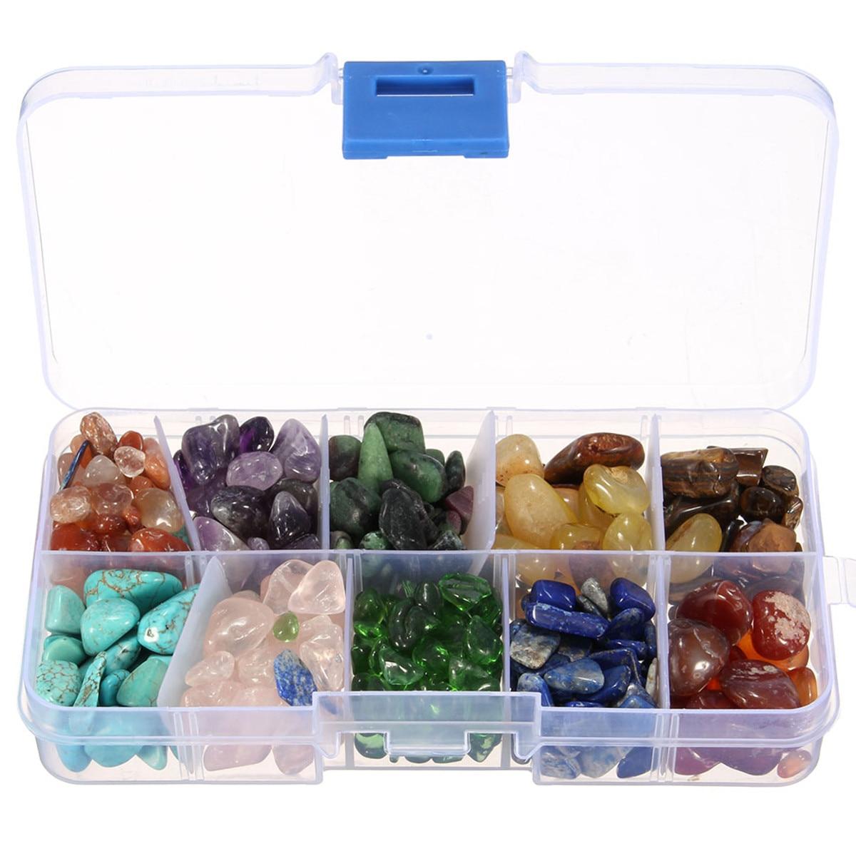 Set 10 Kinds Stone Chakras Crystal Healing Tumbled Natural Quartz Crystal Stones Minerals Irregular Shape Decorative With Box