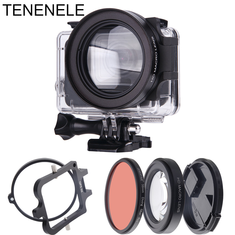 Hero7 Action Camera Filter 58mm Red Filter With 16X Macro Lens Set For GoPro Hero 7 Black/White/Silver Underwater Diving Filters