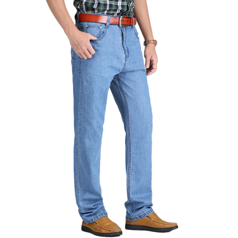 4e34cbfbc 2018 Novo 100% Algodão Verão Fresco Magro calças de Brim Dos Homens Azuis  Largas Calças de Algodão Casual Masculino Cintura Alta Lavado Calças Jeans  em ...