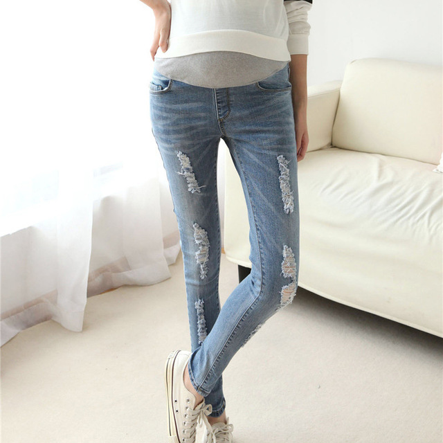 Elastic Waist Maternity Jeans Pants for Pregnancy Clothes Autumn / Winter 2016 New Pregnant Women Hole pant Maternity Plus Size