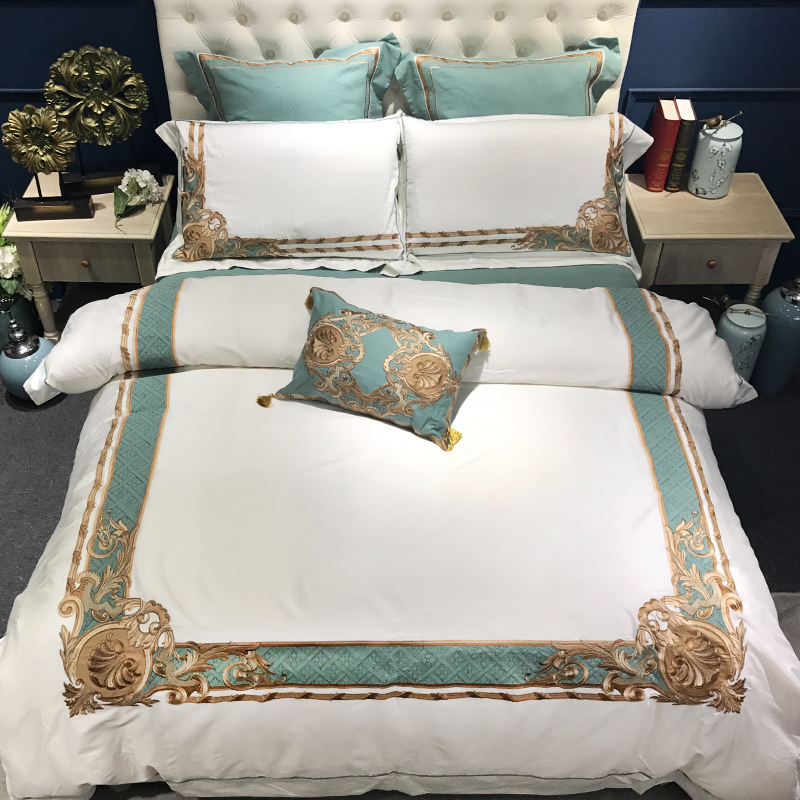 100S Egyptian Cotton Embroidery Luxury Royal Bedding Set 4/6pcs King Queen Hotel Bed Sheet Set Duvet Cover Pillowcase White Blue