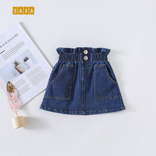 Children's skirt spring and autumn new fashion casual girls denim skirt blue elastic with button pocket baby half skirt