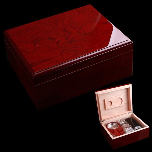 Wooden Wine Red Cigar Humidor W/ Cigar Ashtray