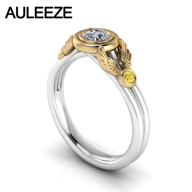6f9064ddf Wings 10K Two-tone Solid Gold Engagement Wedding Ring Moissanites Lab Grown Diamond  Ring Yellow White Gold Yellow Sapphire Ring