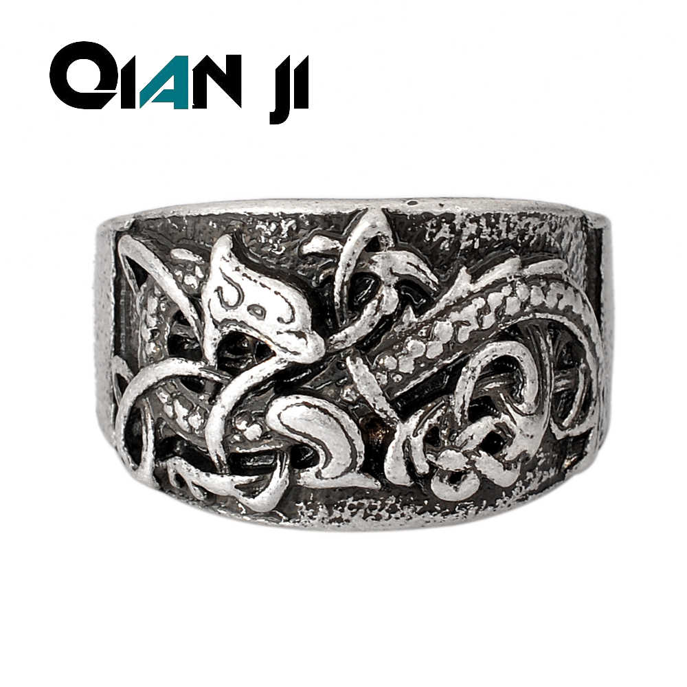 retro Dragons Rings Men Symber Ring Norse Viking Vintage Dragon Signet  Best Friend Drop Shipping