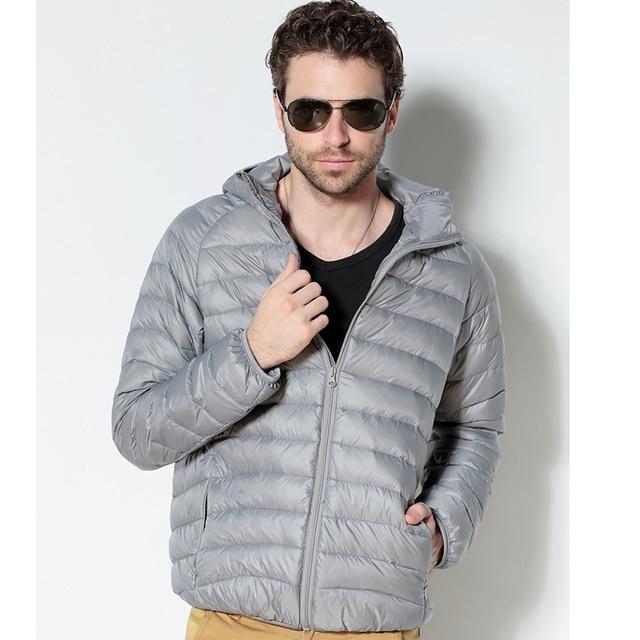 Men White Duck Down Jacket 2020 New Portable Hooded Down Coat Ultralight Men Winter Coat Warm Thermal Down Parkas 3