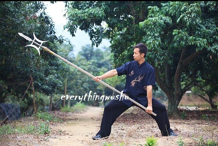 b01228e02 Heavy Duty Wushu Double Sided Halberd Martial Arts Equipment Wushu long  Weapon