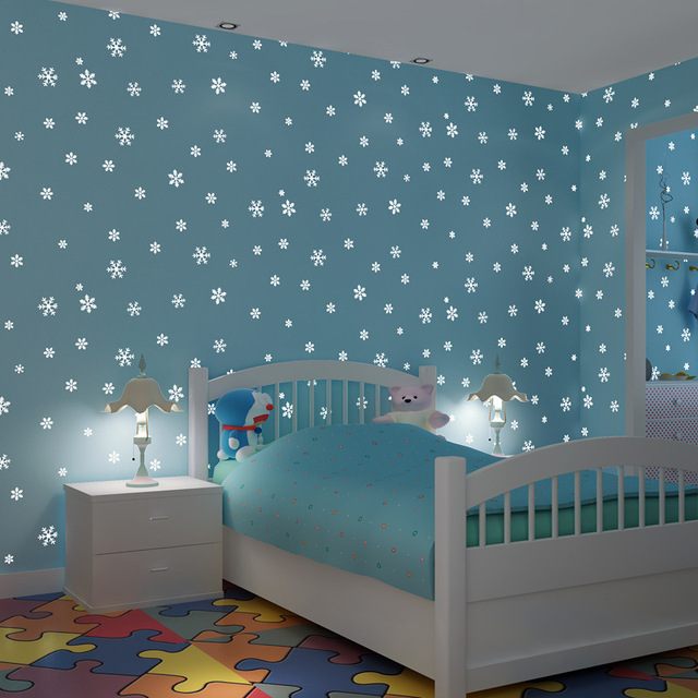Luminous Wall Paper 3D Korean Style Romantic Snowflake Fluorescent Wallpaper  Non Woven Kids Room Girls
