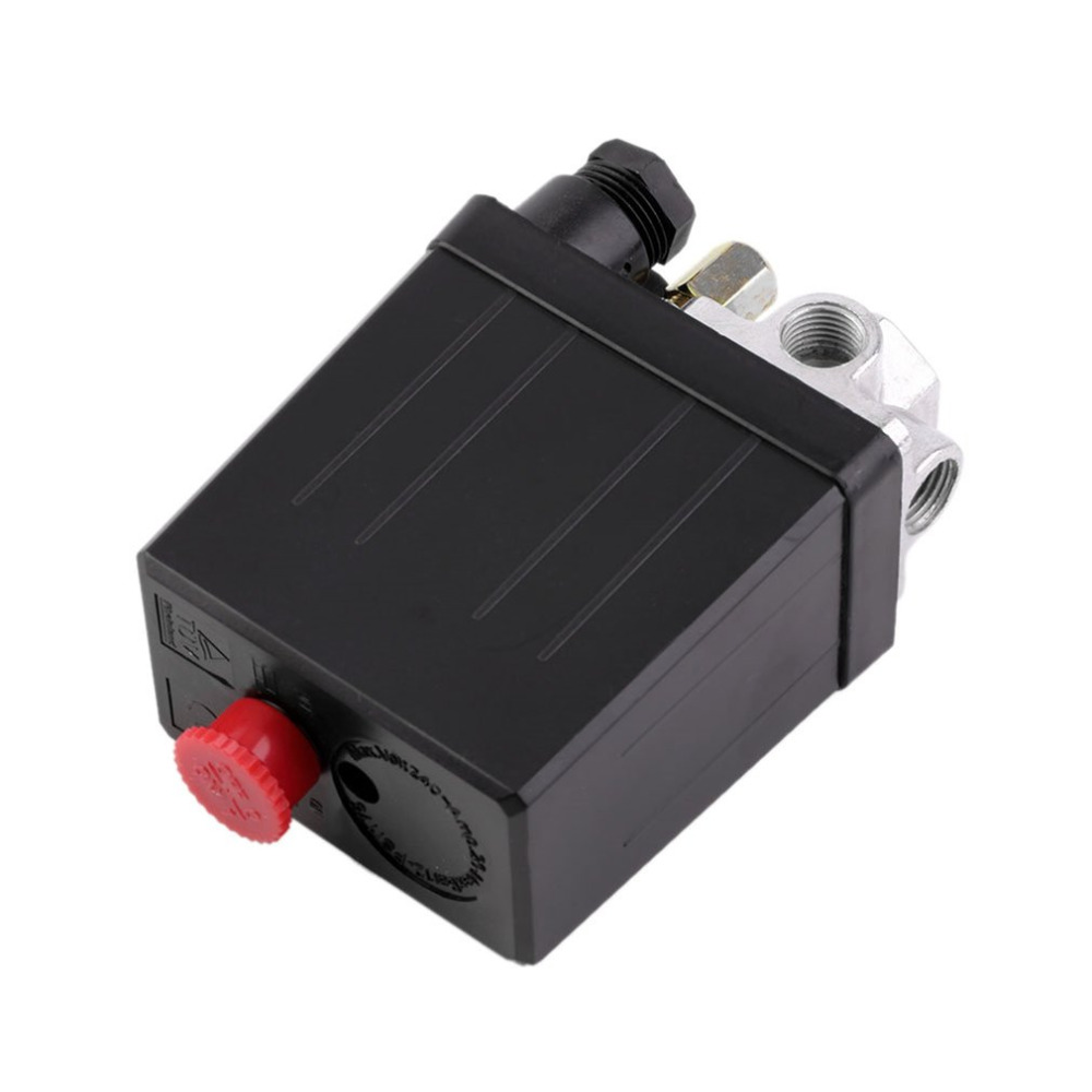 Heavy Air Compressor Pressure Switch Control Valve 90 PSI -120 PSI Convenient Heavy Duty 240V 16A Auto Control Load/Unload vertical type replacement part 1 port spdt air compressor pump pressure on off knob switch control valve 80 115 psi ac220 240v