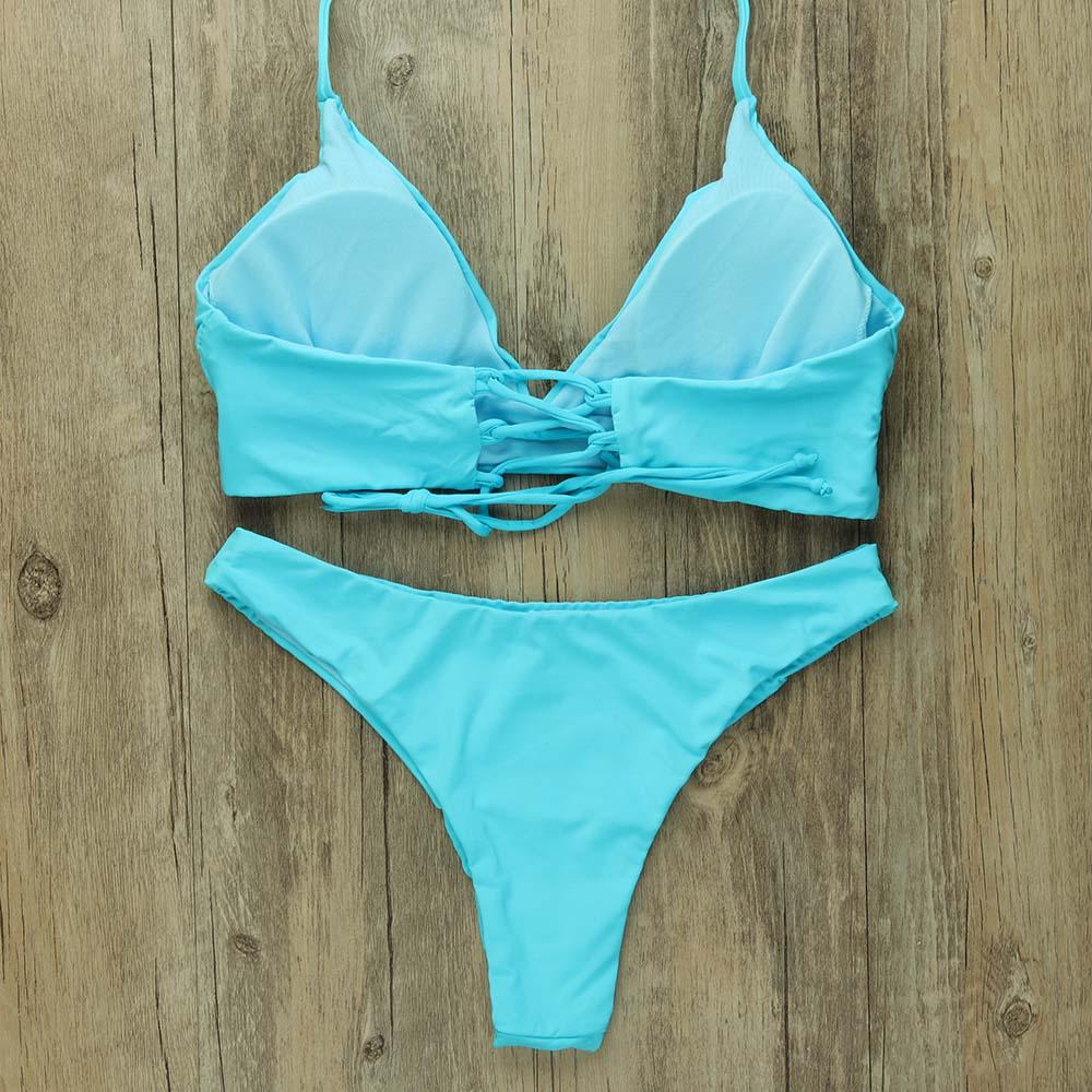 Sexy Thong Bikinis Women 2019 Brazilian Swimsuit Solid Bathing Suit Strape Push Up Swimwear Female Mayo Beach Bathers 1
